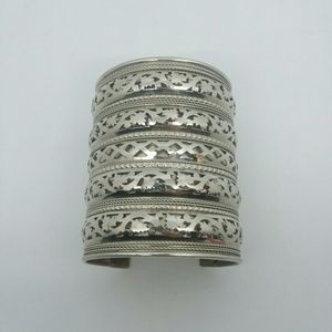 Patterned Silver-Tone Bangle Bracelet